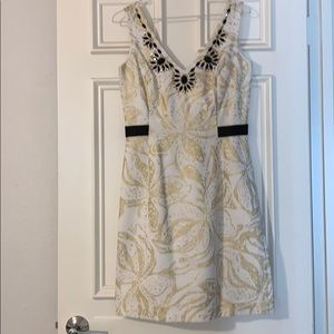 💎BEJEWELED NECKLINE💎 White + Gold Lilly Dress